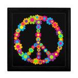 Paz adaptable del flower power del estallido joyero cuadrado grande
