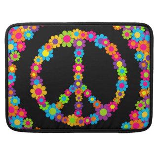 Paz adaptable del flower power del estallido fundas para macbooks