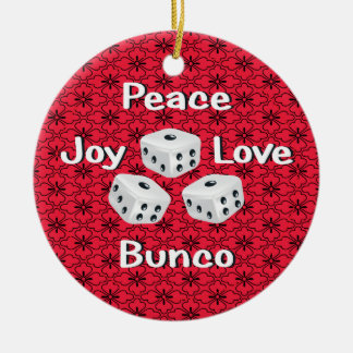 paz, alegría, amor, bunco adorno redondo de cerámica