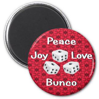 paz, alegría, amor, bunco imán redondo 5 cm