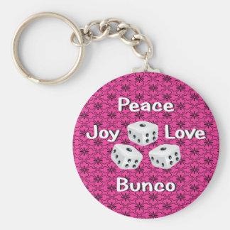 paz, alegría, amor, bunco llavero redondo tipo pin