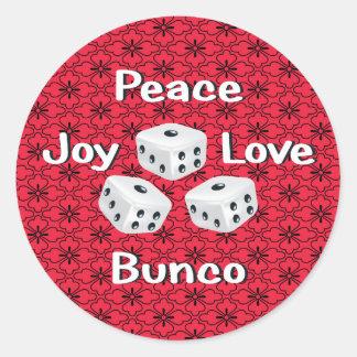 paz, alegría, amor, bunco pegatina redonda