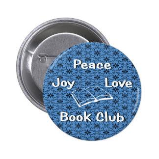paz, alegría, amor, círculo de lectores pin redondo 5 cm
