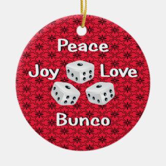 paz, alegría, amor, ornamento del bunco adorno redondo de cerámica