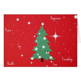 Paz, alegría, felicidad, saludos del navidad del a tarjetón
