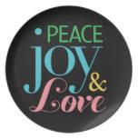 Paz, alegría, y placa del amor plato de comida