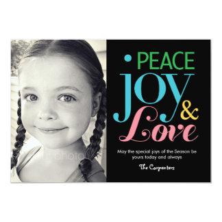 Paz, alegría, y tarjetas de la foto del día de invitación 12,7 x 17,8 cm