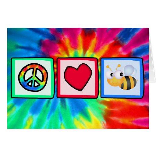 Paz, amor, abejas tarjeton