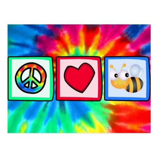 Paz, amor, abejas tarjetas postales