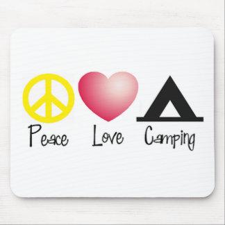 Paz, amor, acampando alfombrilla de ratones