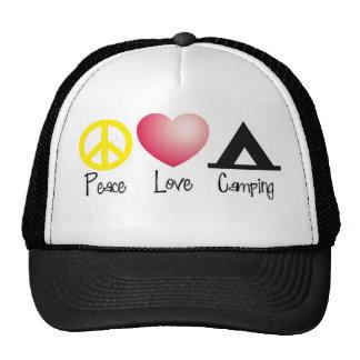 Paz, amor, acampando gorro