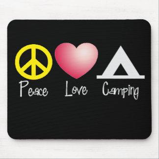Paz, amor, acampando tapete de ratones
