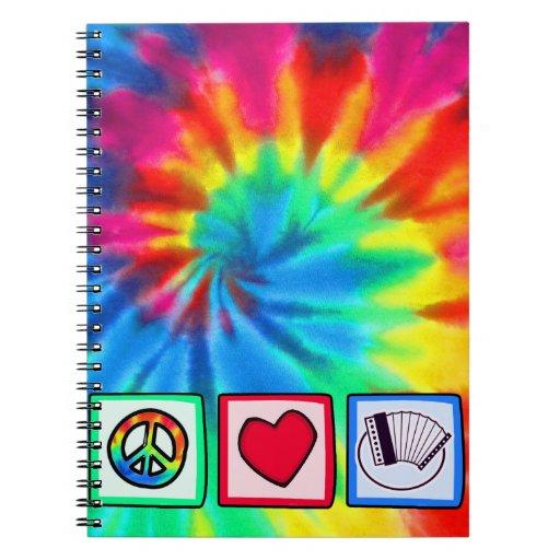 Paz, amor, acordeones libros de apuntes con espiral