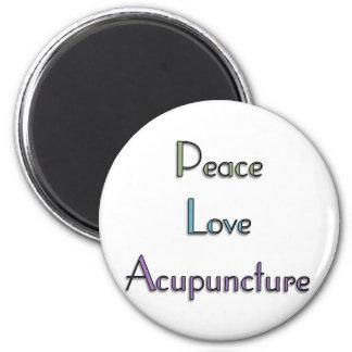Paz, amor, acupuntura imán redondo 5 cm