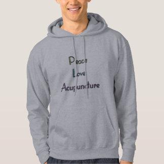Paz, amor, acupuntura jersey con capucha