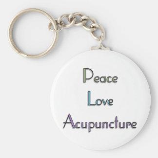 Paz, amor, acupuntura llavero redondo tipo pin