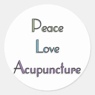 Paz, amor, acupuntura pegatina redonda