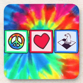 Paz, amor, ajedrez posavasos de bebidas