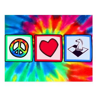 Paz, amor, ajedrez postales