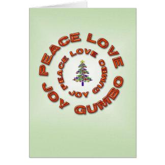 Paz, amor, alegría, árbol de Navidad de la flor de Tarjeta De Felicitación