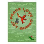 Paz, amor, alegría, navidad de Luisiana del GUMBO Felicitación
