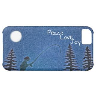 Paz, amor, alegría/pescador de la mosca en nieve carcasa iPhone 5C