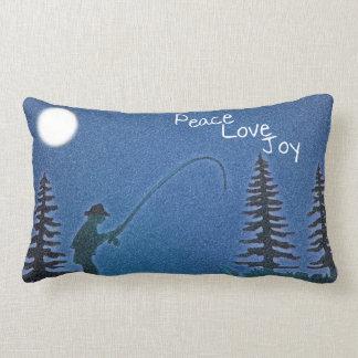 Paz, amor, alegría/pescador de la mosca en nieve cojín