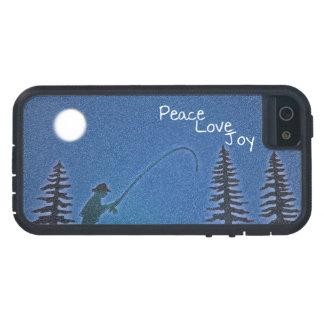 Paz, amor, alegría/pescador de la mosca en nieve funda iPhone SE/5/5s