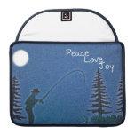 Paz, amor, alegría/pescador de la mosca en nieve fundas para macbook pro