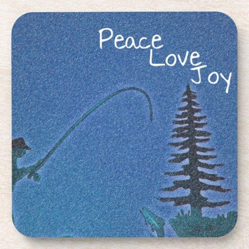 Paz, amor, alegría/pescador de la mosca en nieve posavasos de bebida