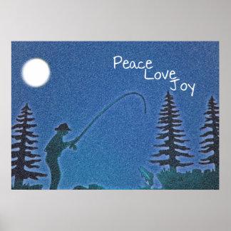 Paz, amor, alegría/pescador de la mosca en nieve póster
