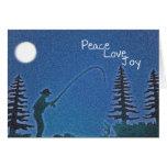 Paz, amor, alegría/pescador de la mosca en nieve tarjeton