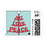 Paz, amor, alegría - roja y azul clara sello