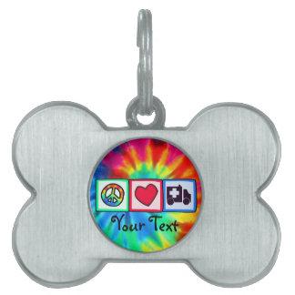 Paz, amor, ambulancia placa de nombre de mascota