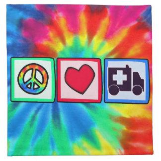 Paz, amor, ambulancia servilleta imprimida