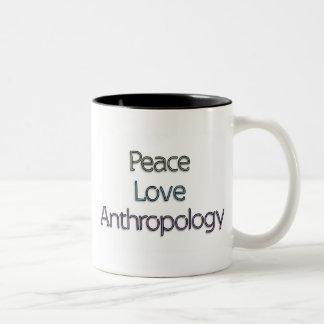 Paz, amor, antropología tazas