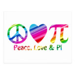 Paz, amor, arco iris del pi tarjetas postales