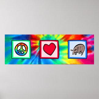 Paz, amor, armadillos impresiones