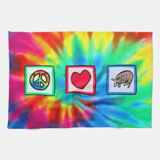 Paz amor armadillos toalla de mano
