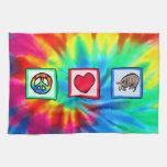 Paz, amor, armadillos toalla de mano