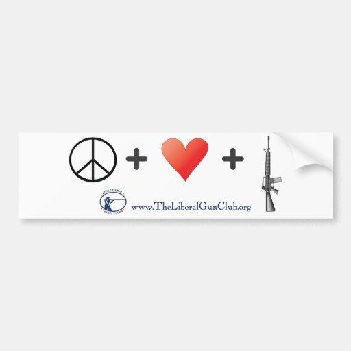 Paz + Amor + Armas Pegatina De Parachoque