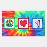 Paz, amor, arpas rectangular pegatina