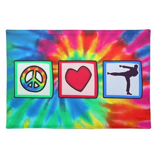 Paz, amor, artes marciales manteles