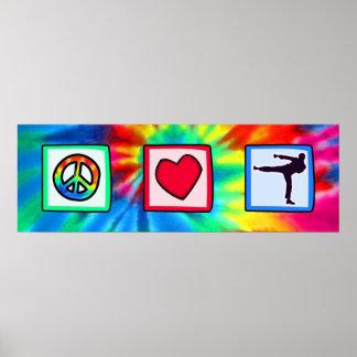 Paz, amor, artes marciales póster