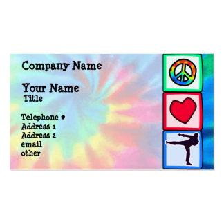 Paz, amor, artes marciales tarjetas de visita