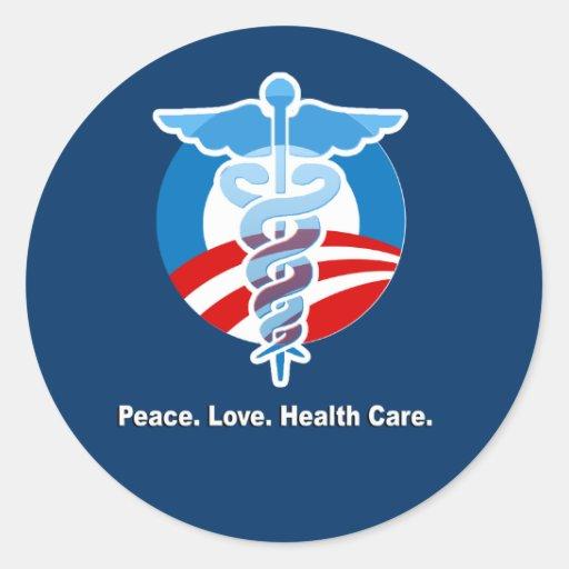 Paz. Amor. Atención sanitaria Pegatina Redonda