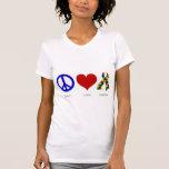 Paz. Amor. Autismo. (brillante coloreado) mujeres Camisetas