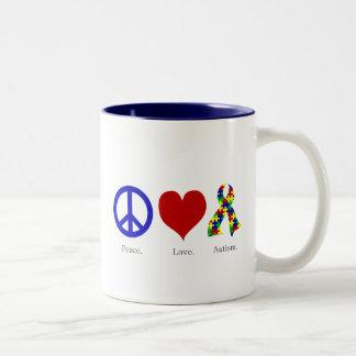 Paz. Amor. Autismo. (brillante coloreado) taza