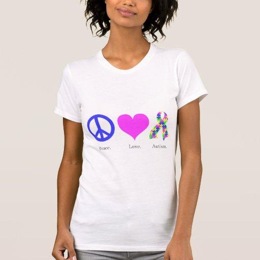 Paz. Amor. Autismo. (pastel coloreado) mujeres Playera