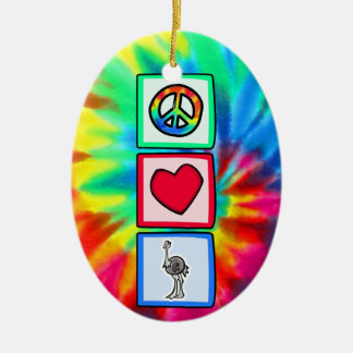 Paz, amor, avestruces adorno navideño ovalado de cerámica